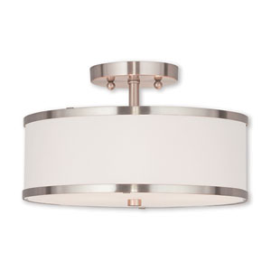 Elle Brushed Nickel 13-Inch Two-Light Ceiling Mount with Hand Crafted Off-White Fabric Hardback