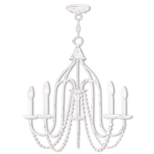 Iris Antique White Five-Light 24-Inch Chandelier