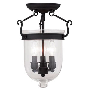 Oxford Black Clear Glass 14-Inch Three-Light Ceiling Mount