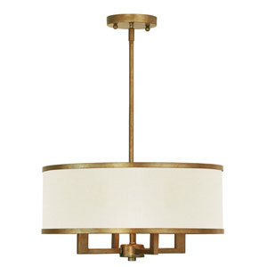 Elle Antique Gold 18-Inch Four-Light Drum Pendant