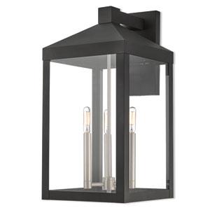 Felix Black 11-Inch Three-Light Outdoor Wall Lantern