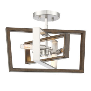 York Brushed Nickel Corona Bronze 15-Inch Two-Light Semi-Flush Mount