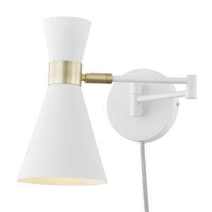 Nicollet White Five-Inch One-Light Plug-In Wall Sconce