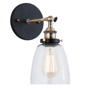 Afton Matte Black, Bronze and Transparent Five-Inch One-Light Wall Sconce