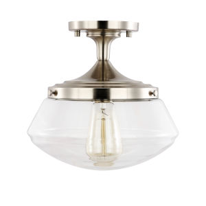 Afton Satin Nickel 10-Inch One-Light Semi Flush Mount