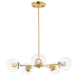 Nicollet Antique Brass and Transparent 28-Inch Five-Light Chandelier