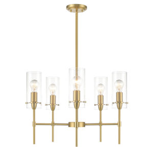 Cooper Brushed Brass 24-Inch Five-Light Chandelier