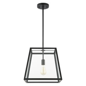 Whittier Matte Black and Transparent 12-Inch One-Light Pendant