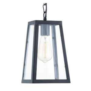 Whittier Matte Black and Transparent Six-Inch One-Light Mini Pendant