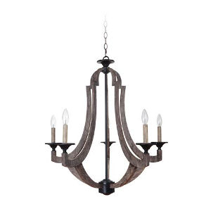 Charlotte Weathered Pine Five-Light Chandelier