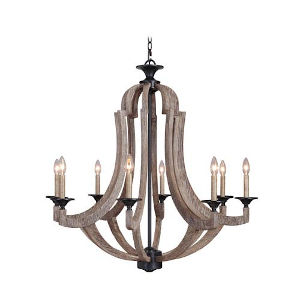Charlotte Weathered Pine Eight-Light Chandelier