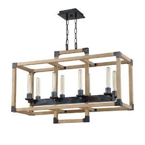 Elle Steel and Natural Wood Eight-Light Pendant