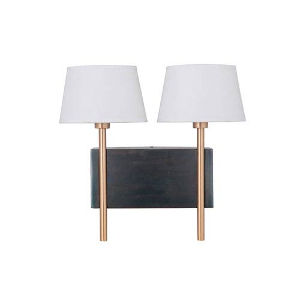 Leighton Steel and Satin Brass Two-Light Wall Sconce