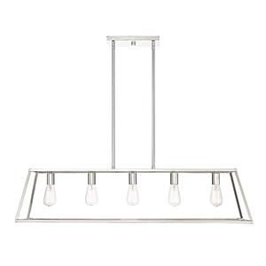 Anita Polished Nickel Five-Light Linear Chandelier