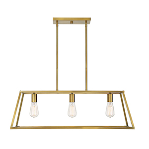 Anita Warm Brass Three-Light Linear Chandelier