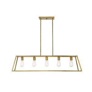 Anita Warm Brass Five-Light Linear Chandelier