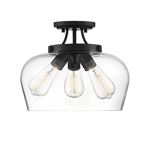 Elle Black Three-Light Semi-Flush