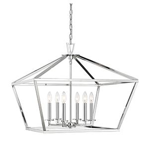 Kenwood Polished Nickel Six-Light Lantern Pendant
