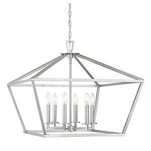 Kenwood Satin Nickel Six-Light Lantern Pendant