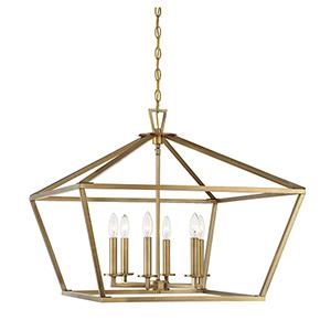 Kenwood Warm Brass Six-Light Lantern Pendant