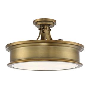 Anita Warm Brass Three-Light Semi-Flush