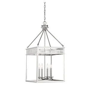 Kate Polished Nickel Four-Light Lantern Pendant