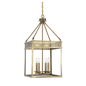 Kate Warm Brass Four-Light Lantern Pendant