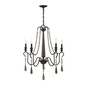 Hana Weathered Ash Five-Light Chandelier