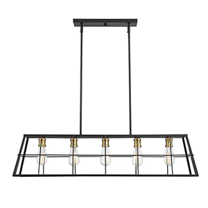 Ash Vintage Black with Warm Brass Five-Light Linear Chandelier