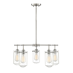 Lex Satin Nickel with Chrome Accents Five-Light Chandelier