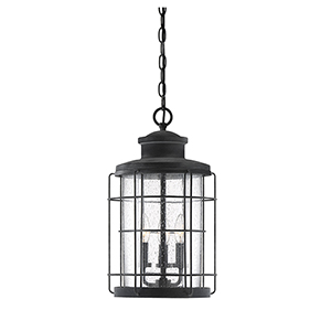 Jackson Oxidized Black Three-Light Outdoor Pendant