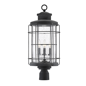 Jackson Oxidized Black Three-Light Outdoor Post Lantern