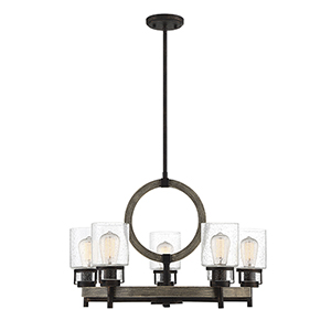 Revolution Noblewood with Iron Five-Light Chandelier