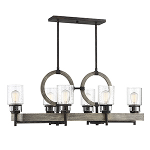 Revolution Noblewood with Iron Six-Light Linear Chandelier