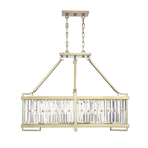 Leighton Noble Brass Eight-Light Linear Chandelier