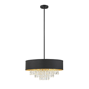 Felix Black with Gold Leaf Six-Light Pendant