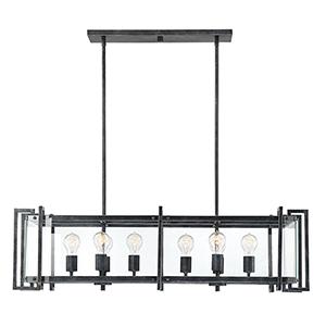 Cora Black Steel Eight-Light Linear Chandelier