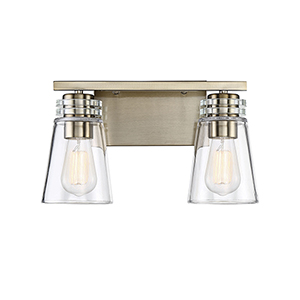 Castor Noble Brass Two-Light Bath Vanity