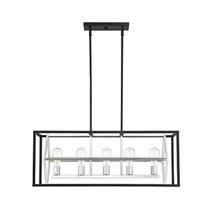 Fredrick Matte Black with Polished Chrome Accents Five-Light Linear Chandelier