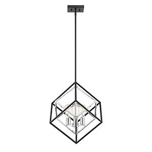 Fredrick Matte Black with Polished Chrome Accents Three-Light Pendant