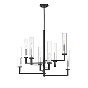 Fredrick Matte Black with Polished Chrome Accents Eight-Light Chandelier