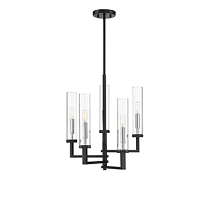 Fredrick Matte Black with Polished Chrome Accents Five-Light Chandelier