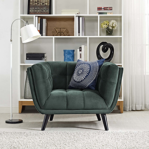 Cooper Green Rubber Wood and Yuhua Fabric Arm Chair