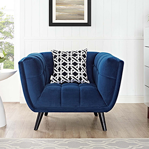 Cooper Navy Rubber Wood and Yuhua Fabric Arm Chair