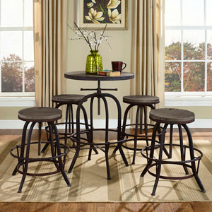River Station Brown Pine and Cast Iron Bar Stool, Set of Four