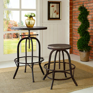 River Station Brown Pine and Cast Iron Bar Stool