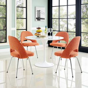 Nicollet Orange Chromed and Cotton Dining Chair, Set of Four