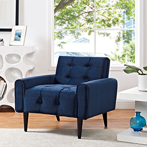 Cooper Navy Wood Arm Chair