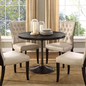 Fulton Black 40-Inch Pine Wood Top Dining Table