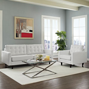 Uptown White Bonded Leather and Polished Aluminum Two Piece Sofa Set